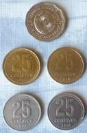 LOTE DE 5 MONEDAS DE ARGENTINA DE 25 PESOS Y 25 CENTAVOS - Argentina
