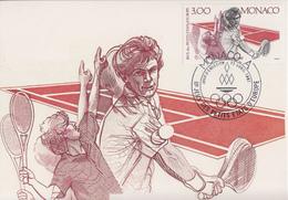 Carte Maximum   1er   Jour   MONACO    Jeux  Des  Petits  Etats  :  TENNIS   1987 - Tennis