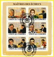 Bloc Oblitéré - Maîtres Des échecs Spassky Fischer Karpov Kasparov Kramnik Anand - N° 2058-2063 (Michel) - Comores 2008 - Comores (1975-...)