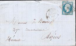 FRANCE Lettre De PARIS 18 NOV 1861 Vers BEZIERS NAPOLEON 20C NON DENTELE - 1849-1876: Periodo Clásico