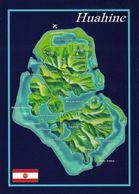1 Map French Polynesia * 1 Ansichtskarte Mit Der Landkarte Der Insel Huahine - Französisch Polynesien * - Landkarten