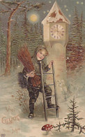 Kaminfeger - Uhr - Pilz - Prägelitho - 1907        (190530) - Nouvel An
