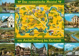 1 Map Of Germany * 1 Ansichtskarte Mit Der Landkarte - Das Romantische Maintal Von Aschaffenburg Bis Karlstadt * - Landkarten