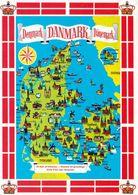 1 Map Of Danmark * 1 Ansichtskarte Mit Der Landkarte Von Dänemark * - Landkarten