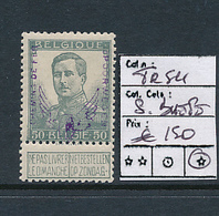 BELGIQUE BELGIUM  1915 ISSUE COB TR54 LH SIGNED JEAN BAETE - Bahnwesen