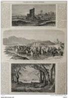 Vue Des Grands Lavoirs D'Albano Et De Castel-Gandolfo - Page Original 1863 - Documents Historiques