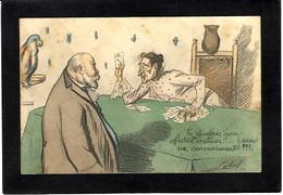 CPA Jeu De Cartes Carte à Jouer Playing Cards Circulé Chouette Chiromancie Caricature Edouard VII Angleterre - Cartes à Jouer