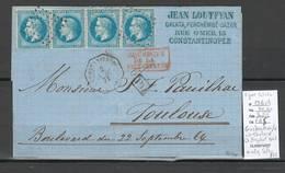 France  Lettre SIGNEE CALVES De Constantinople Pour Toulouse- Bande De 4 Du Yvert 29B - Octogonal Salles 882 - Postmark Collection (Covers)