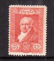 SPAIN ESPAÑA SPAGNA 1930 FRANCISCO GOYA CENT. 25c MLH - Nuovi