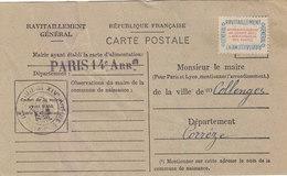 PARIS XIVeme : CARTE DE RAVITAILLEMENT GENERAL.TIMBREE  NON OBLITEREE.1946.ETAT TRES CORRECT - Distretto: 14