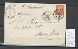 France  Lettre Pour New York - Etats Unis - 1877 - Yvert 38 - Ceres 40 Centimes - SIGNE CALVES - 1849-1876: Classic Period