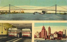 Ontario, Canada - Ambassador Bridge, Tunnel Buses And Detroit Skyline, Windsor 1952 - Windsor