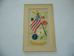 WW1 CARTOLINA POSTCARD PATRIOTIC FLAG U.S.A. REMEMBER CUCITA A MANO. - Guerra 1914-18