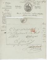 Paris An 6 - 12.4.1798 Ministère De La Guerre,le Commissaire - Ordonnateur ..Prix Avoine,foin - Marcophilie (Lettres)