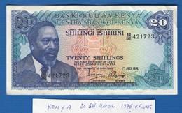 Kenya   20  Shillings  1/7/1976  Sup - Kenia