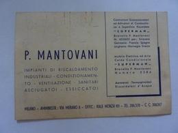"""Cartoncino Pubblicitario """"P. MANTOVANI Milano"""" Anni '50 - Pubblicitari"""