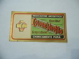 ETICHETTA SANITà FARMACIA MEDICAZIONE ANTISETTICA COTONE IDROFILO CM.13X7. - Pubblicitari