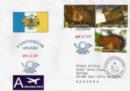 Ecureuil Roux Et Faune De La Principauté D'Holkau (Forstendom Holkau) Allemagne., Lettre Adressée Principauté D'Andorre. - Rodents