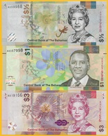 BahamasSet Of 3 Banknotes: 1/2 (half) Dollar, 1 Dollar, 3 Dollars 2017-2019 UNC - Bahamas