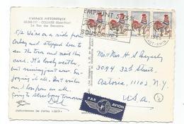 COQ DECARIS 25CX4 CARTE AVION COLMAR 3.5.1965 POUR USA 5C EN TROP - 1962-65 Cock Of Decaris