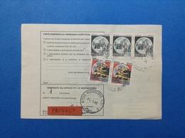 1986 STRISCIA DI 3 CASTELLO 600 + COPPIA CASTELLO 100 SU BOLLETTINO PACCHI - 6. 1946-.. Republic