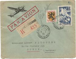 N°669+ BLASON 5FR LETTRE REC AVION CARCASSONNE 5.4.1945 CHARGEMENTS POUR TUNISIE + ÉTIQUETTE DOUANE AU DOS - Marcophilie (Lettres)