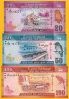 Sri LankaSet Of 3 Banknotes: 20, 50, 100 Rupees 2015-2016 UNC - Sri Lanka