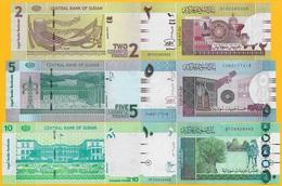 Sudan Set Of 3 Banknotes: 2, 5, 10 Pounds 2015-2017 UNC - Sudan