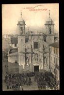C1287 ESPAÑA - GALICIA - LA CORUÑA . IGLESIA DE SAN JORGE CON LA PROCESIÓN VIAJADA 1912 - La Coruña