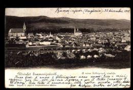 C1293 ROMANIA EX HUNGARY UDVOZLET SZAMOSÚJVÁR GHERLA - A VAROS LATKEPENEK RESZLETE WITH TRAIN CIRCULATED WITHOUT STAMP - Romania