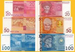 Kyrgyzstan Set Of 3 Banknotes: 20 50 100 Som P-24, 25, 26 2016 UNC - Kirghizistan