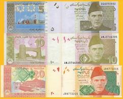 Pakistan Set Of 3 Banknotes: 5, 10, 20 Rupees 2008-2018 UNC - Pakistan