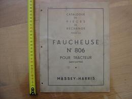 FAUCHEUSE 806 Pour Tracteur MASSEY HARRIS Catalogue Pieces De Rechange METIER - Technical Plans