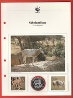 30 JAHRE WWF Silber Gedenkmünze Silver Coin / Ag 999 PP / Tiere Animals Animaux Säbelantilope Oryx Dammah - Münzen