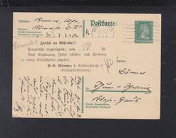 Dt. Reich GSK 1927 München Zurück Freigebühr Ungenügend - Germania