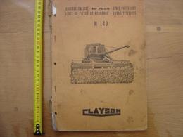 1967 Moissonneuse Batteuse CLAYSON M 140 Catalogue Piece De Rechange AGRICULTURE - Technical Plans