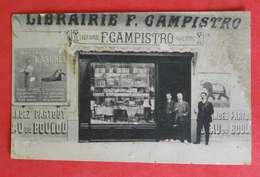 66 Perpignan RRRARE Carte-photo Librairie F.Campistro TB Animée éditeur LF Toulouse Dos Scanné - Perpignan