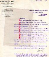 75-PARIS-LETTRE L.  MONTES 14 RUE LANCRY-PEAUSSERIE PELLETERIE A  VERGNIAUD RATINAUD SAINT JUNIEN GANTERIE 1930 - Petits Métiers