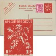 Belgique 1944. Carte Postale Pour L'étranger. Timbre à 1 F Au Type « V De Londres ». Curiosité D'encrage, Timbre Maculé - Stamped Stationery