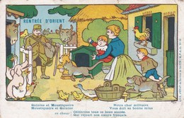 Carte Franchise Militaire Rentrée D'Orient Benjamin Rabier 1918 - Marcophilie (Lettres)