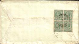 1917- Busta Affrancata Al Verso Con Quartina 5c.verde Leoni Annullo Di Posta Militare 65 A (pt.5) - Storia Postale