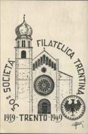 1949-Trento Cartolina Societa' Filatelica Trentina Affrancata L.5 Democratica Con Annullo Dalla Manifestazione - Trento