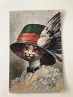 Carte Postale Ancienne Signée Thiele Chat Coiffé D'un Chapeau - Thiele, Arthur
