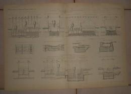 Plan De Fondation à L'air Comprimé Des Barrages Déversoirs Du Coudray Et D'Evry. 1884. - Travaux Publics