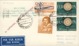 1961-Lufthansa I Volo Boeing 707 Roma-Hong Kong Cartoncino Aerogramma Del 23 Gennaio - 6. 1946-.. Repubblica