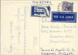 1957- Cartolina Illustrata Madonna Di Campiglio Affrancata L.15 Siracusana+L.60 Europa Diretta In Argentina Per Via Aere - 6. 1946-.. Republic