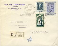 1959-busta Raccomandata Affrancata Con Valori Gemelli L.25 (Europa+Centenario Francobollo Di Sicilia)+L.60 Visita Dello - 6. 1946-.. Repubblica