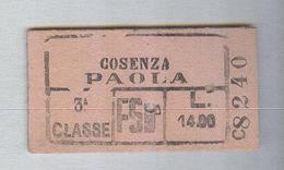 BIGLIETTO TRENO FS...COSENZA..PAOLA.. CARTONATO - Spoorwegen