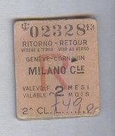 BIGLIETTO TRENO FS....GENEVE...MILANO..1966.. CARTONATO - Spoorwegen