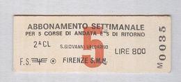 BIGLIETTO TRENO FS....ABBONAMENTO SETTIMANALE..S.GIOVANNI VALDARNO..FIRENZE.. CARTONATO - Europe